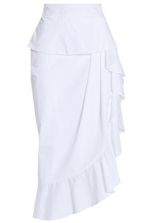 MICHAEL LO SORDO Asymmetric ruffled cotton-poplin skirt