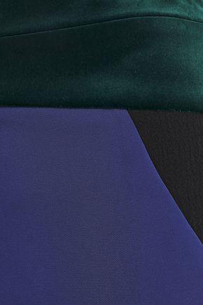 ANTONIO BERARDI Fluted color-block velvet and crepe maxi skirt