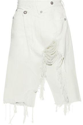 R13 Harrow asymmetric distressed denim skirt
