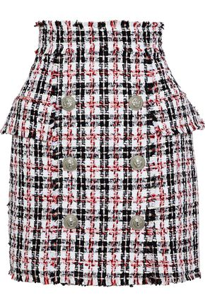 BALMAIN Button-detailed tweed mini skirt