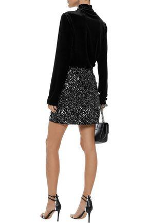 BALMAIN Crystal-embellished denim mini skirt