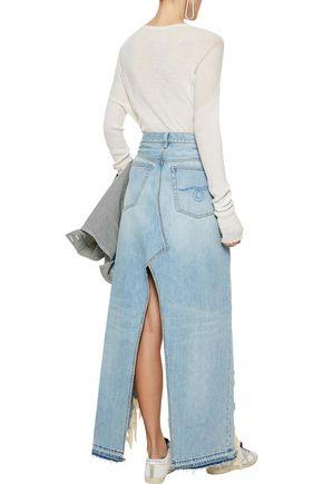 R13 Tilly distressed denim maxi skirt