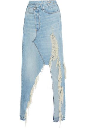 R13 Tilly distressed denim maxi skirt