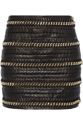 BALMAIN Chain-trimmed leather mini skirt