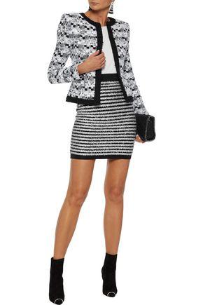 b8e59cab9fd BALMAIN Striped Tinsel and stretch-knit mini skirt