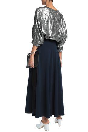 DIANE VON FURSTENBERG Alexander two-tone crepe maxi wrap skirt