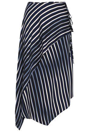 DIANE VON FURSTENBERG Wrap-effect striped stretch-silk midi skirt