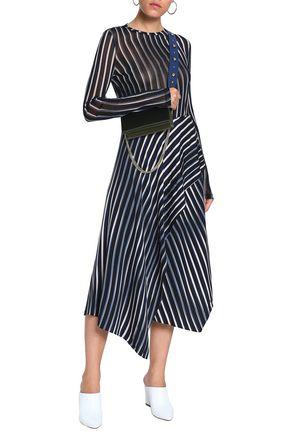 DIANE VON FURSTENBERG Wrap-effect striped stretch-silk midi skirt