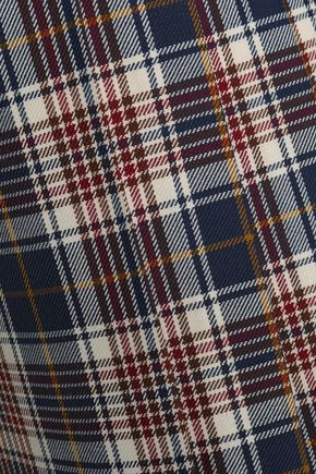 TORY BURCH Pleated checked woven skirt