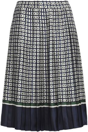 TORY BURCH Pleated printed silk-twill skirt