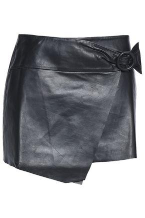 BA&SH Wrap-effect leather mini skirt
