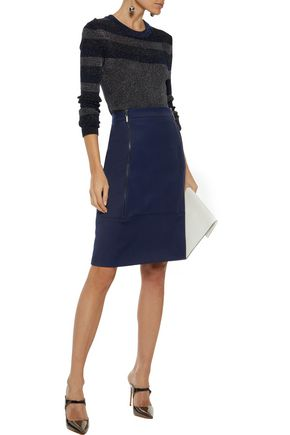 RAOUL Zip-detailed wool pencil skirt