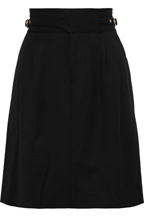 RAOUL Buckle-detailed pleated twill mini pencil skirt