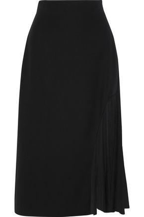 LANVIN Tulle-paneled crepe midi skirt