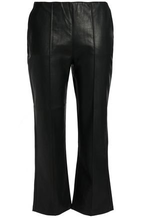 DUFFY Cropped faux leather bootcut pants