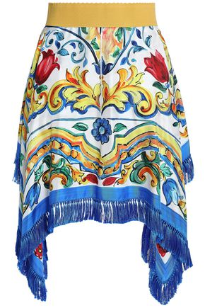 DOLCE & GABBANA Asymmetric printed silk-blend twill skirt