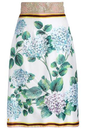 DOLCE & GABBANA Brocade-paneled floral-print silk-blend twill skirt