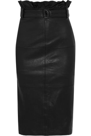 Claudia Belted Leather Pencil Skirt by J Brand