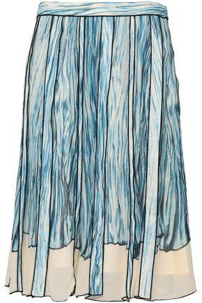 PROENZA SCHOULER Pleated printed silk-georgette skirt