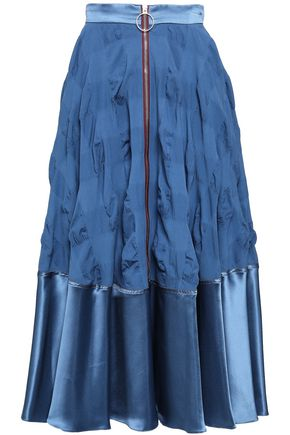 ROKSANDA Silk-blend satin and seersucker midi skirt
