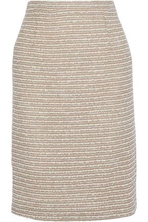 OSCAR DE LA RENTA Sequin-embellished wool-blend bouclé pencil skirt