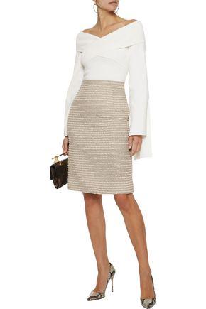 OSCAR DE LA RENTA Sequin-embellished wool-blend bouclé pencil skirt