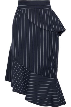 OSCAR DE LA RENTA Ruffled pinstriped wool-blend skirt