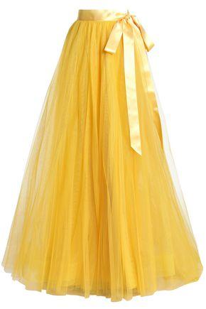 JENNY PACKHAM Satin-trimmed tulle maxi skirt