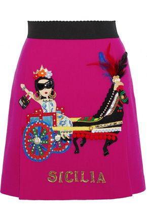 DOLCE & GABBANA Appliquéd silk-blend crepe mini skirt
