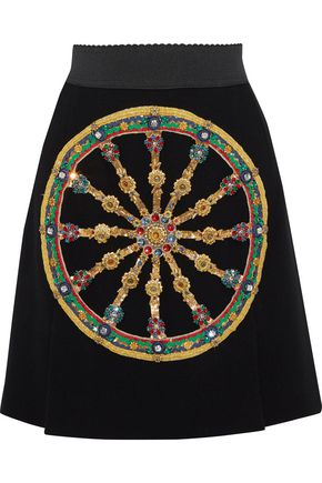 DOLCE & GABBANA Embellished wool mini skirt