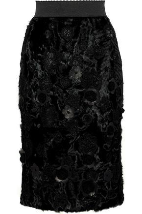 DOLCE & GABBANA Floral-appliquéd embroidered shearling pencil skirt