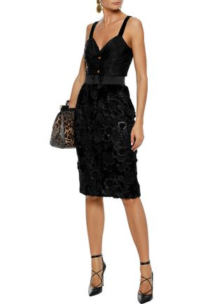 DOLCE & GABBANA Floral-appliquéd embroidered shearling pencil skirt