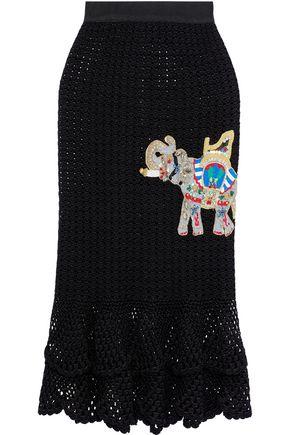 DOLCE & GABBANA Appliquéd crocheted cotton skirt