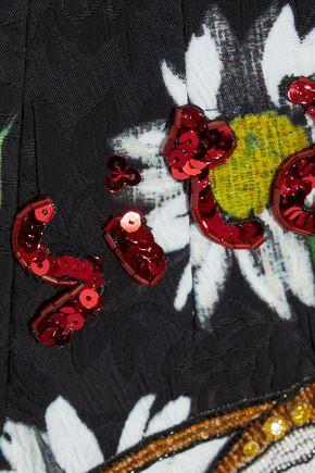 DOLCE & GABBANA Appliquéd floral-print jacquard skirt