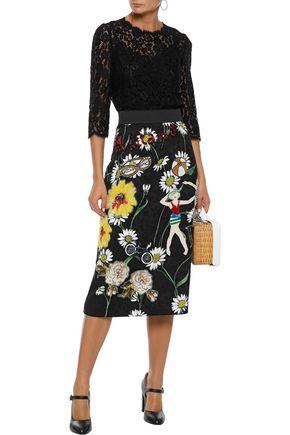 e38dd241ba24 DOLCE & GABBANA Appliquéd floral-print jacquard skirt