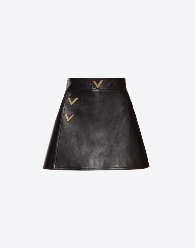 Mini-Hosenrock aus Heavy Calf mit goldfarbenen V-Details