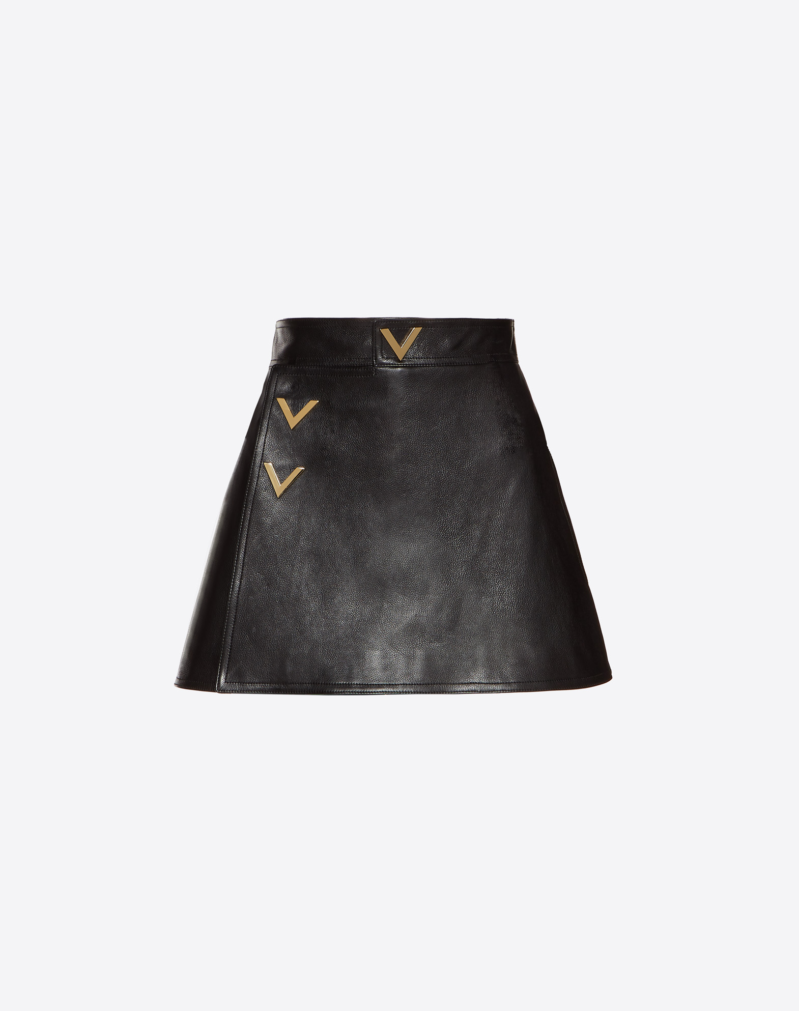 Heavy Calf Mini Skort with Gold V Details