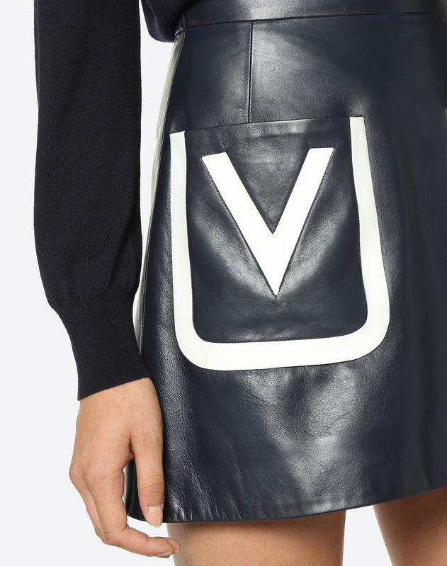 Leather Mini Skirt with Embroidered V Logo