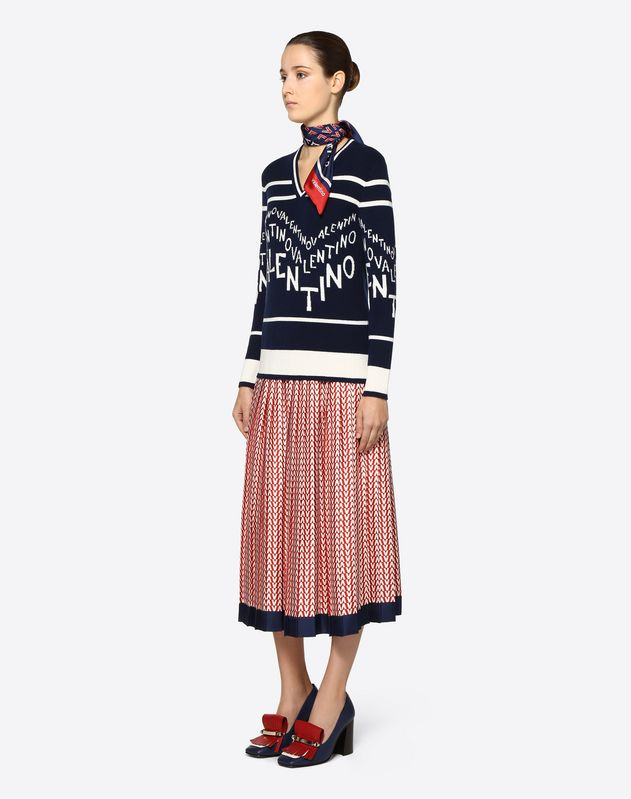 Optical Valentino Crêpe Couture Skirt