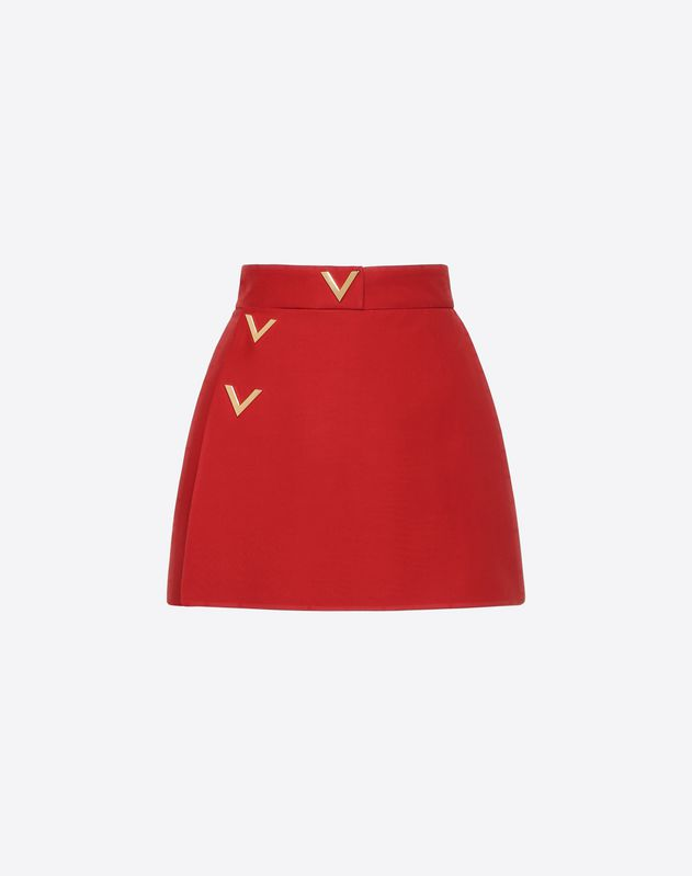 Silk Wool Cady Mini Skort with Gold V Details