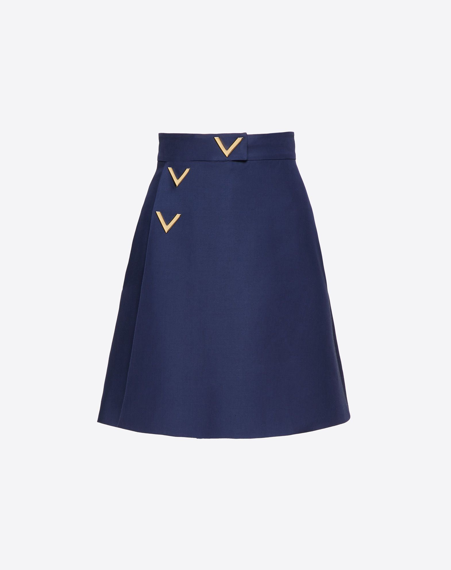 Silk Wool Cady Skirt with Gold V Details