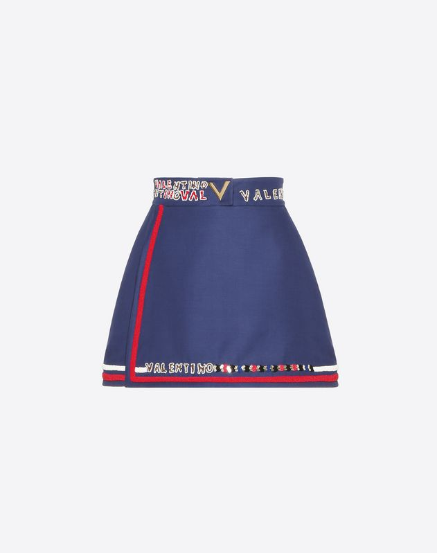 Embroidered Silk Wool Cady Mini Skort With Gold V Detail