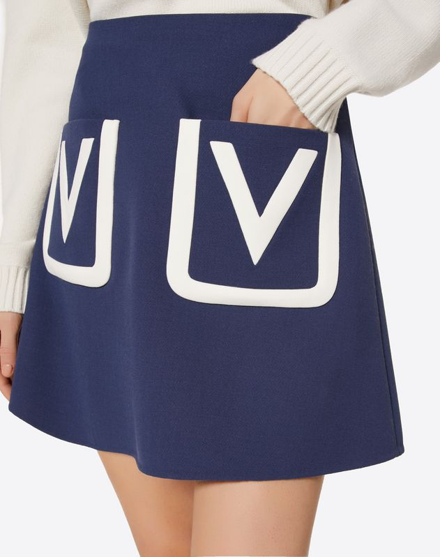 Double Crêpe Wool Skirt with Embroidered V Logo