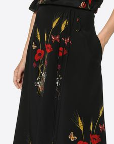 Flowery Meadow Crêpe de Chine Skirt