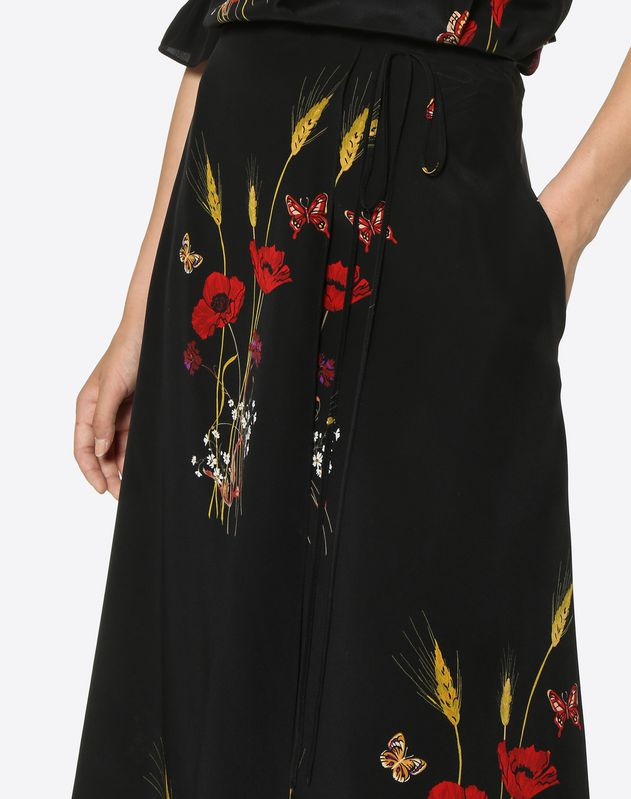 Flowery Meadow Crêpe de Chine Skirt