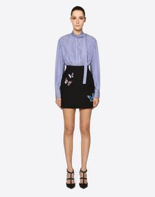 Embroidered Butterflies Crêpe Couture Skirt