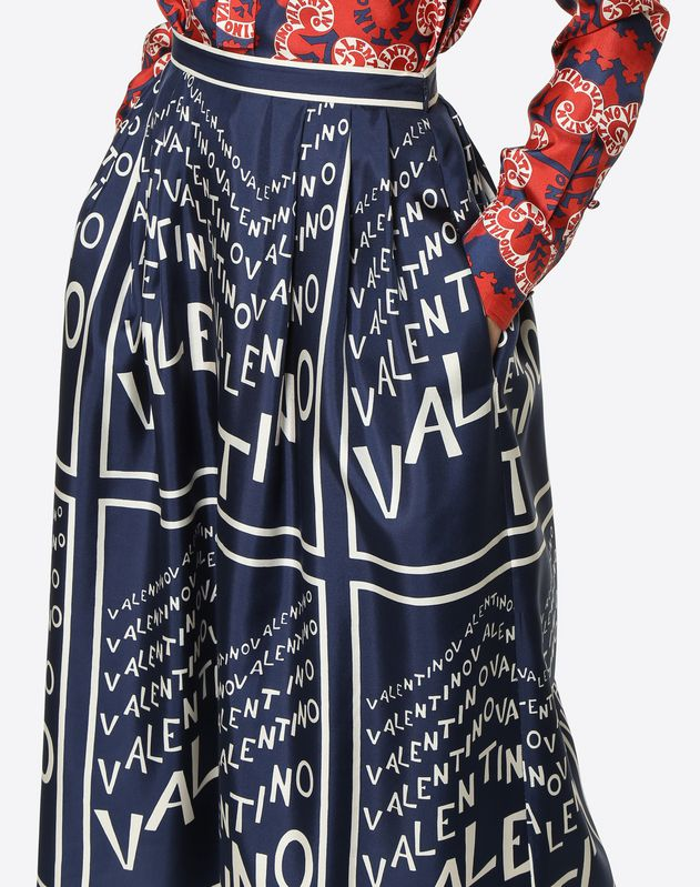 Valentino Chevron Twill Skirt