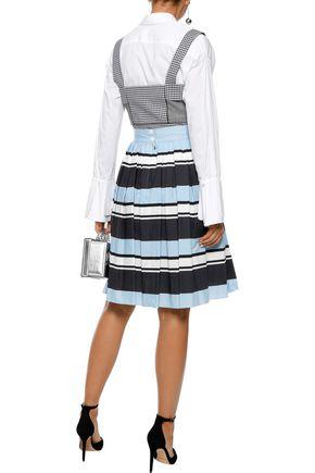DOLCE & GABBANA Pleated striped cotton-poplin skirt