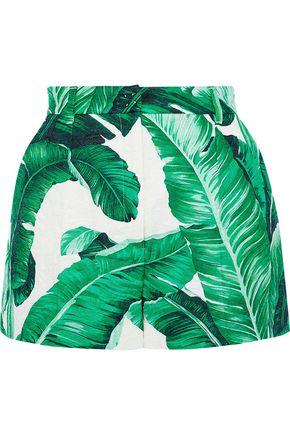 DOLCE & GABBANA Printed cotton and silk-blend cloqué shorts