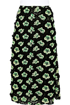 MARNI Embroidered silk-blend tulle midi skirt